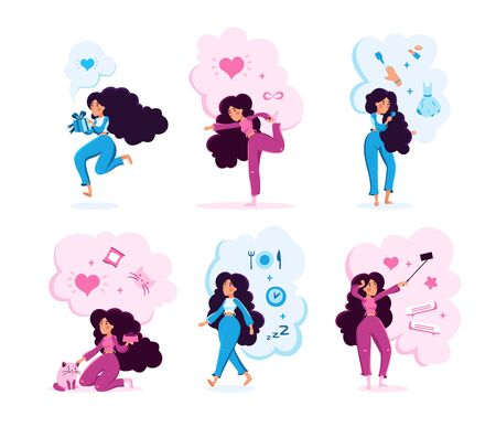 Modern Woman, Young Lady Celebrating Holiday, Doing Fitness Exercises, Feeding Cat, Planning Diet, Making Selfie Photos Trendy Flat Vector Characters Illustrations Set Isolated on White Background Иллюстрация