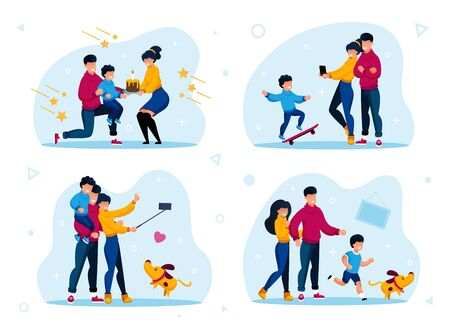 Family Togetherness and Happy Relationships Trendy Flat Vector Concepts Set. Parents with Children Greeting Kid with Birthday, Making Memorable Photos, Playing with Pet at Home Isolated Illustrations Stock Illustratie