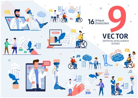 Robotic Prosthesis with Artificial Intelligence Trendy Flat Vector Scenes Set. Disabled or Handicapped Men and Woman Characters in Wheelchair Ready to Try Prosthesis with Neurointerface Illustrations
