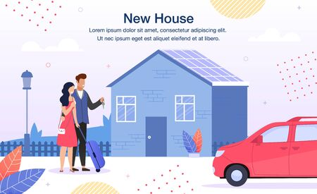 Bank House Loan, Real Estate Agency, Construction Company Trendy Flat Vector Advertising Banner, Promo Poster Template. Happy Couple Standing Together with Keys near Family New House Illustration