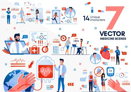 Medical Rehabilitation and Recovery After Surgical Operation Trendy Flat Vector Scenes Set. Nurses Helping Patients, Doctor Counseling Sportsman, People with Diabetes Checking Blood Sugar Illustration