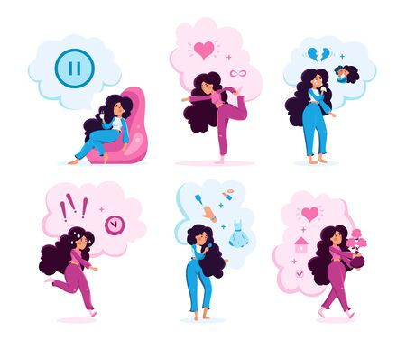 Modern Woman, Young Lady Character Set. Women Daily Routines, Situations, Lifestyle Scenes, Hobby, Relations, Entertainment Activities Trendy Flat Vector Illustrations Set Isolated on White Background Stock Illustratie
