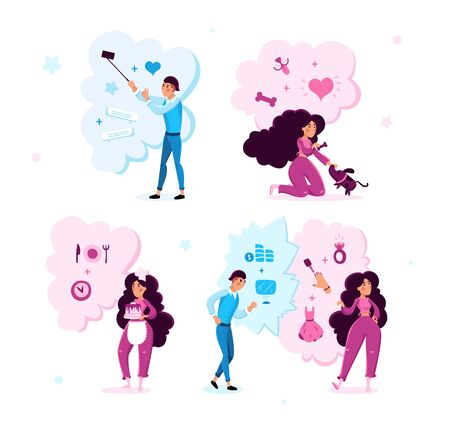 Young Woman and Man Trendy Flat Vector Characters Set Isolated on White Background. Lady Feeding Dog, Cooking Tasty Cake, Choosing Clothing, Guy Shooting Selfie Photos, Making Business Illustrations Stock Illustratie