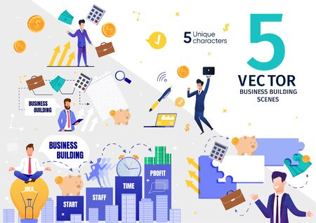 Successful Business Company, Investment Project Building and Developing Trendy Flat Vector Scenes Set. Happy Company Leader, Excited Businessman, Satisfied Male Entrepreneur Characters Illustrations Stock Illustratie