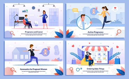 Work During Pregnancy, Pregnant Woman Active Life and Physical Activity, Shopping Trendy Flat Vector Banner, Poster Set. Woman Working in Office, Doing Exercises, Buying Goods Online Illustration