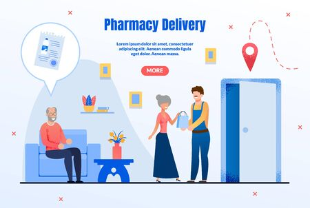 Drugstore Goods Delivery Service Trendy Flat Vector Web Banner, Landing Page Template. Delivery Man or Courier Giving Order to Clients, Senior People Ordering, Buying Medicines Online Illustration