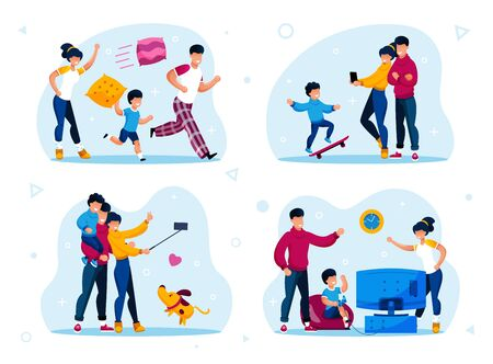 Family Relationships, Happy Parenthood Trendy Flat Vector Concepts Set. Parents with Children Fighting with Pillows, Fooling Around, Shooting Selfie Photos, Playing Video Games Isolated Illustrations