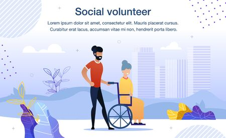 Social Help and Volunteering Service for Senior, Disabled or Handicapped People Trendy Flat Vector Banner, Poster Template. Male Volunteer, Young Man Helping Aged Woman in Wheelchair Illustration