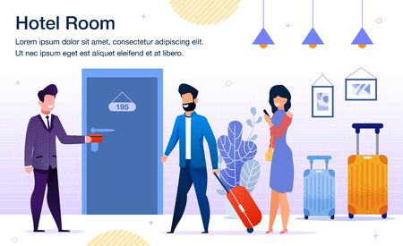 Hotel Room Booking, Modern Hotel Services Trendy Flat Vector Advertising Banner, Promo Poster Template. Hotel Manager Welcoming Guests, Opening and Showing Room for Traveling Couple Illustration