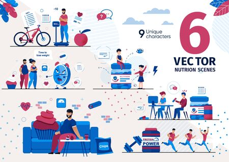 Healthy Nutrition and Dieting Practice Trendy Flat Vector Scenes Set. Fat Man, People Characters with Overweight Planning Diet and Exercises, Running for Weight Loss, Vitamins for Kids Illustrations