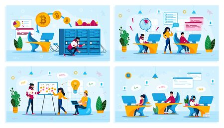 Time Management, Project Planning Meeting, Bitcoin Trading, Startup Team Trendy Flat Vector Concepts Set. Employees Meeting, Programmers in Office, Developers Fails Deadline, Mining Farm Illustration
