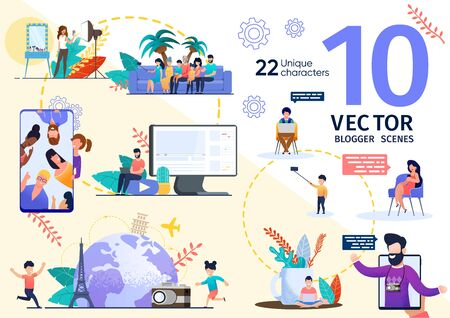 Beauty Blogger, Travel Vlogger Activities and Lifestyle Trendy Flat Vector Scenes Set. Woman Streaming Video About Cosmetics Products Testing and Makeup Tips, Man Shooting Photos in Trip Illustrations Stock Illustratie