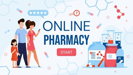 Online Pharmacy Shop E-commerce Site Flat Design. Happy Family with Child Ordering Various Pharmaceutical Drugs Buy Medicaments via Internet Using Mobile App for Payment. Medicine and Healthcare