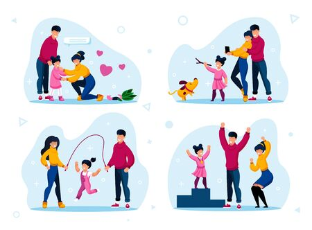 Happy Family Members Relationships Types Trendy Flat Vector Concepts Set. Parents Calming Down Worried Daughter, Playing with Dog, Jumping on Rope, Celebrating Kids Achievement Isolated Illustrations Ilustração