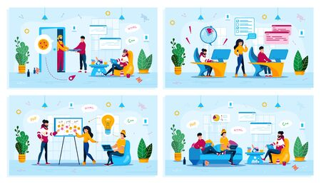 Distant Work, Project Development Meeting, Freelance Work Trendy Flat Vector Concepts Set. Freelancer Ordering Pizza, Software Developers Failing Deadline, Programmers Discussing Ideas Illustration