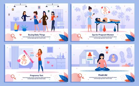 Shopping in Pregnancy, Pregnant Recreation and Leisure, Pregnancy Test Trendy Flat Vector Banner, Poster Set. Woman Shopping in Store, Relaxing with Massage, Looking on Tester, Meditating Illustration