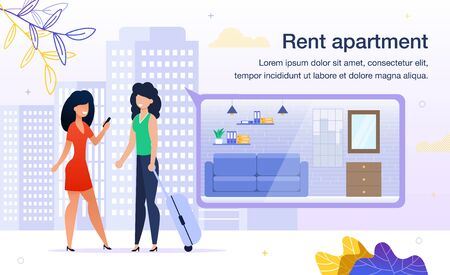 Searching Apartment for Short-Term Rent Trendy Flat Vector Advertising Banner, Promo Poster Template. Woman with Baggage, Female Tourists Choosing Place for Stay with Mobile Phone App Illustration