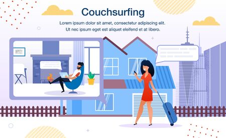 Couch surfing Online Service, Smartphone Application Trendy Flat Vector Ad Banner, Promo Poster Template. Traveling with Baggage Woman Messaging to House Owner, Searching Place to Stay Illustration Ilustração