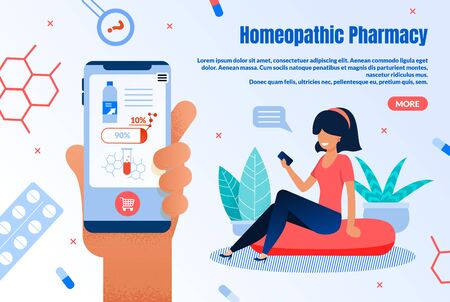 Homeopathic Online Pharmacy Trendy Flat Vector Web Banner, Landing Page Template. Female Customer, Woman with Smartphone Choosing and Buying Alternative, Natural Medicines in Internet Illustration