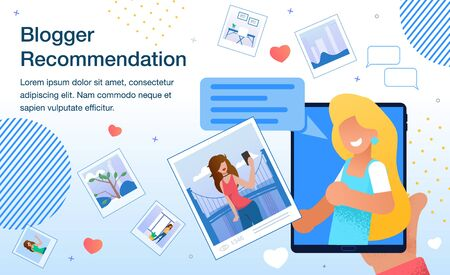 Blogger Recommendation, Monetization of Popularity in Social Network, Marketing Campaign with Opinion Leader in Internet or Brand Ambassador Banner, Poster Template Trendy Flat Vector Illustration Stock Illustratie