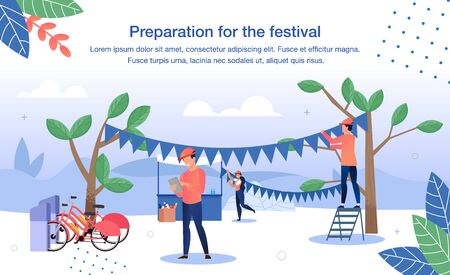 Cultural Volunteering on Music Festival or Charity Event Trendy Flat Vector Banner, Poster Template. Volunteers Working Together During Festival Preparations, Decorating Event Location Illustration