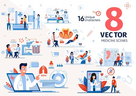 Diseases Diagnostics and Patients Health Researching Technologies Trendy Flat Vector Scenes Set. Patients Visiting Doctor Appointment, Pregnant Woman Doing Ultrasonic Screening in Clinic Illustrations