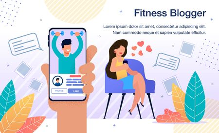 Popular Fitness Blogger, Fitness Model or Famous Athlete Activity in Social Network Banner, Poster. Woman Following on Sportsman, Fitness Trainer Blog with Smartphone Trendy Flat Vector Illustration 向量圖像