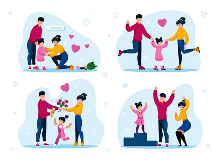 Family Happiness and Strong Relationships Trendy Flat Vectors Set. Parents Calming Down Daughter, Riding Roller-Skates, Spending Time Together, Proud of Child Winning in Competition Illustrations Ilustração