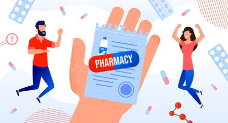 Medication Prescription for Pharmacy Medical Poster. Human Hand Holding Button Pharmaceutical Drugs List for Patient. Capsule Pill with Lettering. Happy Man Woman Customer. Druggist Medicament Cure.