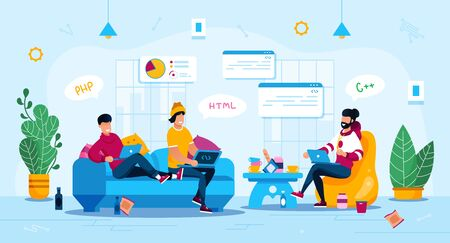 Freelance Work Trendy Flat Vector Concept. Group of Freelancers, Programmers Team, Student Friends Gathering Together at Home with Laptops, Writing Program or App Code, Planing Startup Illustration