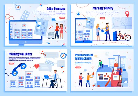 Pharmaceutical Manufacturing, Medicines Delivery Service, Online Pharmacy Call Center or Helpline Trendy Flat Vector Web Banners, Landing Pages Templates Set. People Shopping in Internet Illustration