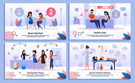 Happy Life in Pregnancy, Pregnant Woman Shopping Trendy Flat Vector Banner, Poster Set. Lady Talking with Friend, Showing Husband Test Result, Buying Baby Clothing, Relaxing in Spa Salon Illustration