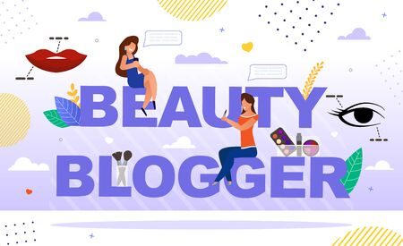 Makeup, Fashion Cosmetics Trends Usage Blog Vlog Presentation Cover. Attractive Women Sit on Beauty Blogger Capital Letter. Online Channel Mobile App, Chat, Female Video Streamer. Cosmetology Tutorial 向量圖像
