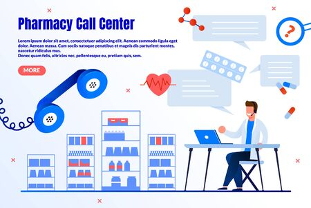 Pharmacy Call Center Trendy Flat Vector Web Banner, Landing Page Template. Male Pharmacist, Pharmacy Worker Counseling Customers Online, Chatting with Clients in Internet, Answering Calls Illustration 向量圖像