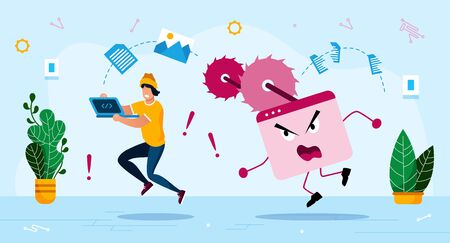 Dangerous Malware Software Threat, Online Security Trendy Flat Vector Concept. Man with Laptop Running Out, Trying Rescue Files and Information, Escaping from Aggressive Computer Virus Illustration