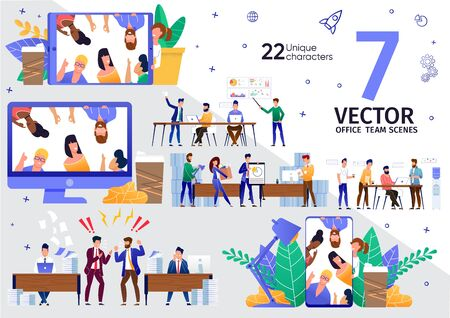 Business Team Office, Distance Work and Communication Trendy Flat Vector Scenes Set. Company Employees Negotiation, Coworkers Communication Online, Startup Developers Teamwork Meeting Illustrations