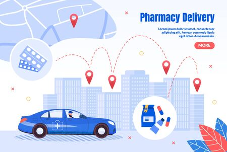 Pharmacy Express Delivery Service Trendy Flat Vector Web Banner, Landing Page Template. Pharmaceutical Company Salesman or Agent, Courier Riding Car, Delivering Orders to City Clients Illustration 向量圖像