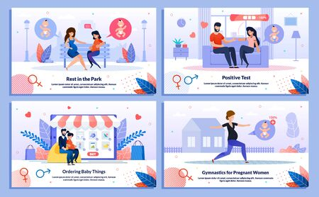 Healthy and Active Pregnancy, Childbirth Preparations Trendy Flat Vector Banner, Poster Set. Pregnant Woman Meeting Friend, Tells Husband About Pregnancy, Shopping Online, Doing Exercises Illustration