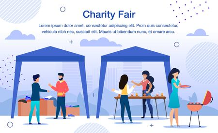 Charity Organization Fair, Garage Sale for Social Help Needs Trendy Flat Vector Banner, Poster. Volunteers Selling Sweets and Snacks, Collecting Donations and Things for Charity Purposes Illustration