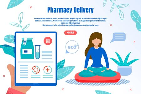 Eco Pharmacy Delivery Trendy Flat Vector Web Banner, Landing Page Template. Female Customer, Woman Choosing and Ordering Natural Medicines from Organic, Ecologically Clean Materials Illustration