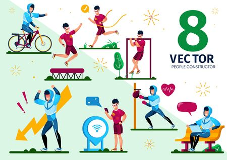 Sportsman Active Lifestyle and Daily Routines Trendy Flat Vector Scenes Set. Male Athlete, Man Character in Sportswear Riding Bike, Boxing with Bag, Jumps on Trampoline, Chatting Online Illustrations 向量圖像
