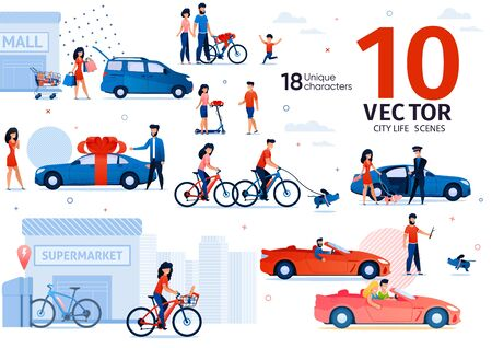 Gasoline Car and Ecological Transport Owning Trendy Flat Vector Scenes Set. Man and Woman Riding Car, Going on Shopping, Rides on Bicycle, Giving Automobile, Bike and Shooter As Gift Illustrations
