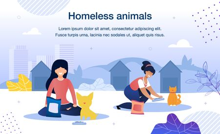 Homeless Animals Care and Rescue Trendy Flat Vector Banner, Poster Template. Female Volunteers, Multinational Women Taking Care, Feeding Stray Cat and Dog in Animal Shelter Territory Illustration 向量圖像