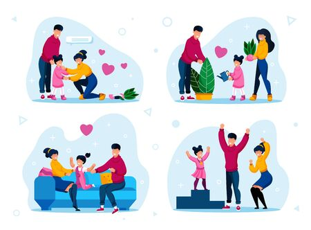 Happy Family Daily Life, Parenthood Activities Trendy Flat Vector Concepts Set. Parents Calming Down Daughter, Watering Plant, Relaxing at Home, Celebrating Kid Victory in Sport Isolated Illustrations