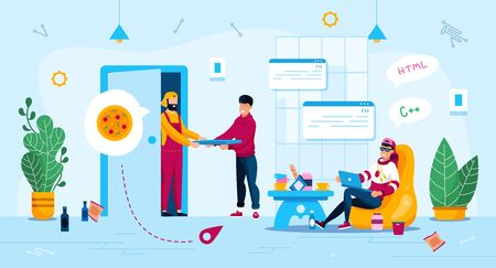 Distance Ans Freelance Work Advantages Trendy Flat Vector Concept. Freelance Programmer Using Laptop While Sitting in Mess, Working at Home, Deliveryman Delivering Pizza to Client Home Illustration