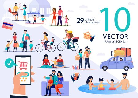 Family Summer Vacation Leisure and Recreation, Holidays Travel Trendy Flat Vector Scenes Set. Parents with Kids Cooking Barbeque, Going on Shopping and Picnic, Traveling on Bicycles, Swimming in Pool