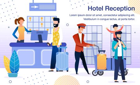 Luxury Hotel Services Trendy Flat Vector Advertising Banner, Promo Poster Template. Female Receptionist at Reception Counter Desk Welcoming Guests, Bellman Carrying Baggage on Trolley Illustration 向量圖像