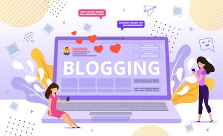 Personal Blog and Online Video Tutorial Advertisement. Attractive Women Using Phone Application for Watching Vlogger Channel Reading Blogger Posts Chatting, Communication Sitting on Huge Laptop