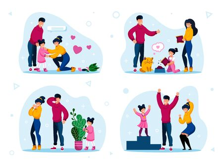 Responsible Parenthood Trendy Flat Vector Concept Set. Parents with Children Teaching Kid to Feed Pet, Playing in Hide-and-Seek, Supporting Worried Daughter, Celebrating Kids Achievement Illustrations 向量圖像