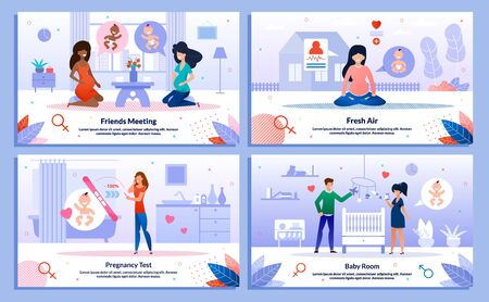 Happy, Active Pregnancy, Pregnant Woman Healthy Lifestyle, Relations Trendy Flat Vector Banner, Poster Set. Lady Meeting with Friend, Doing Pregnancy Test, Preparing Baby Room, Meditating Illustration 向量圖像